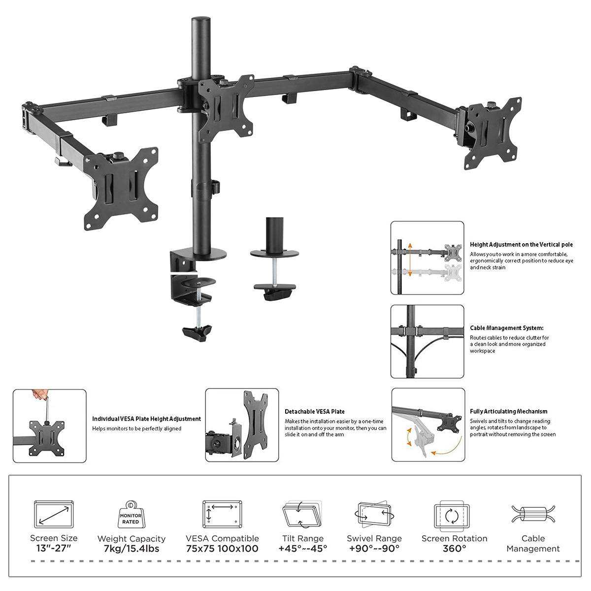 Boost Industries Universal DM-EX30 Height Adjustable Triple Arm Monitor  Desktop Mount for Screens 13