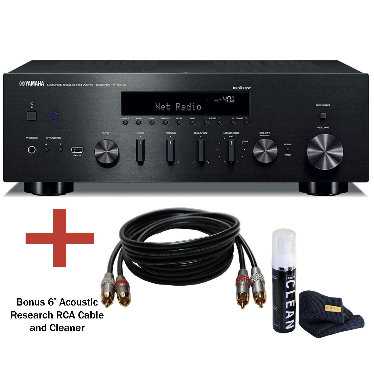 Yamaha R-S202 2 Channel Stereo Receiver with Bluetooth (Manufacturer  Refurbished)