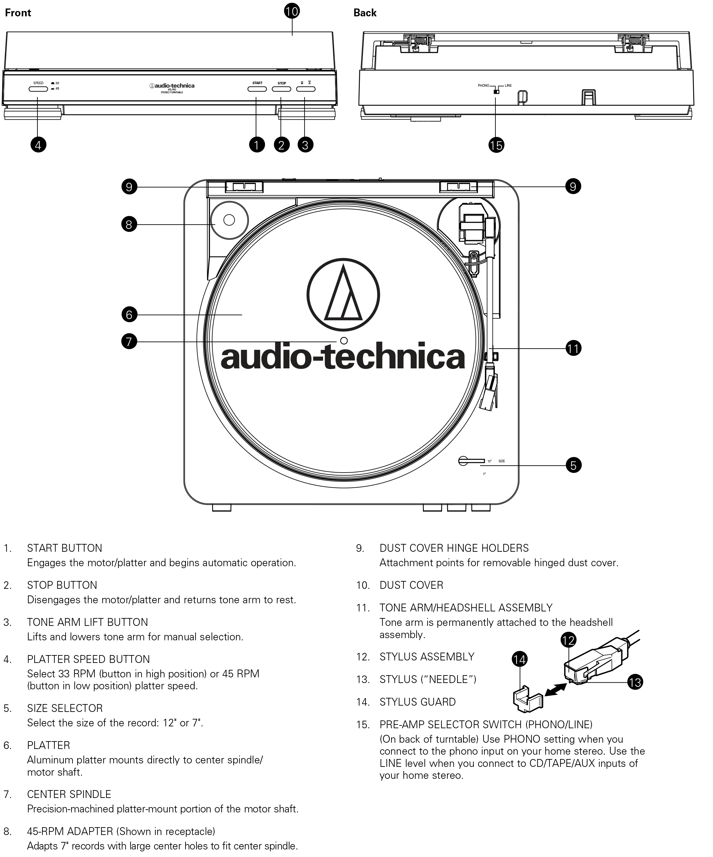 Buy Audio Technica At Lp60 Fully Automatic Stereo Turntable System Belt Drive Audi Ar Diagram